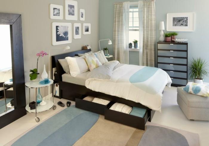 Ideen-für-Schlafzimmer-verschiedenen-Wandfarben