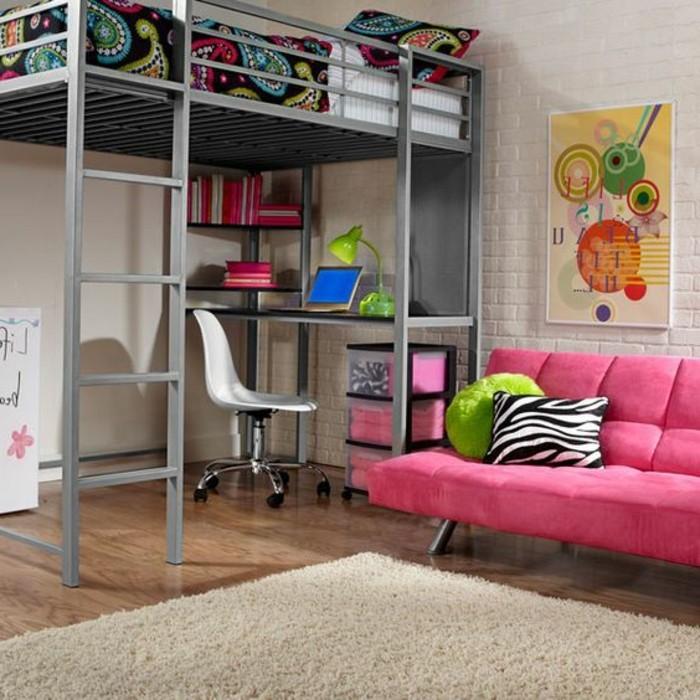 Jugendzimmer-mit-Hochbett-in-grauer-Farbe