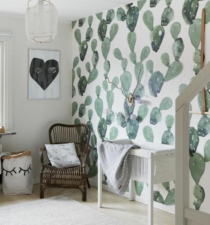 Kinderzimmer-Tapete-in-grüner-Farbe
