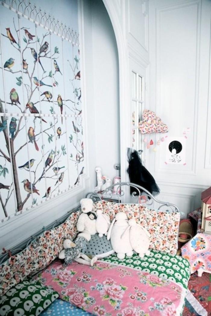 Kinderzimmer-Tapete-mit-verschiedenen-Vögelarten