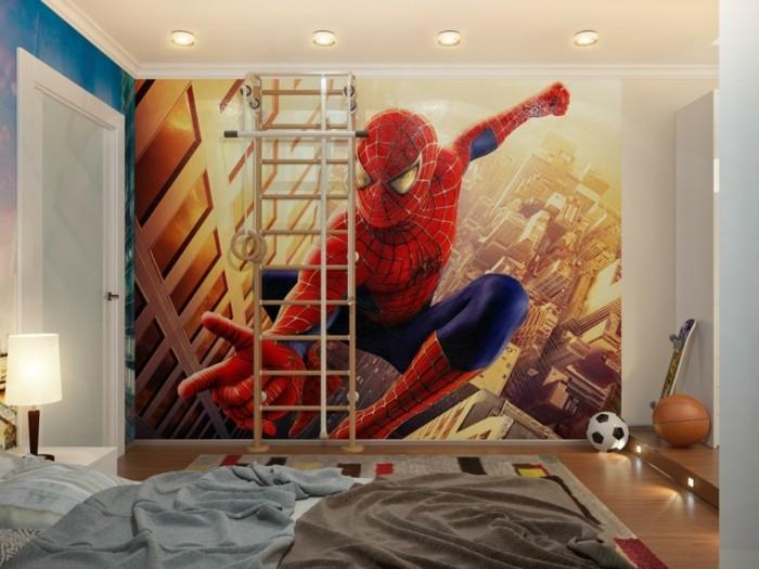 Kinderzimmer-Tapezieren-mit-Spiderman-im-Flug