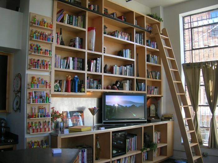 Leiter-für-Bücherregal-für-die-Kinder