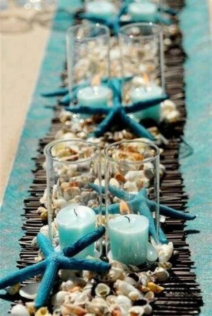 Maritime-Tischdeko-Kerzen-Muschel-und-Seesterne