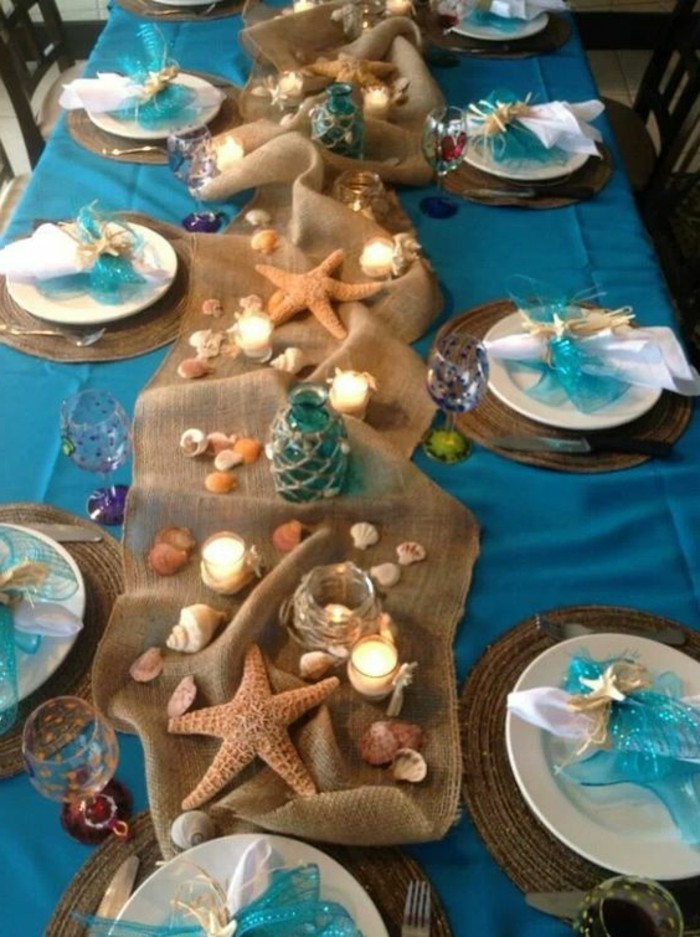 Maritime-Tischdeko-mit-blauen-Bändern