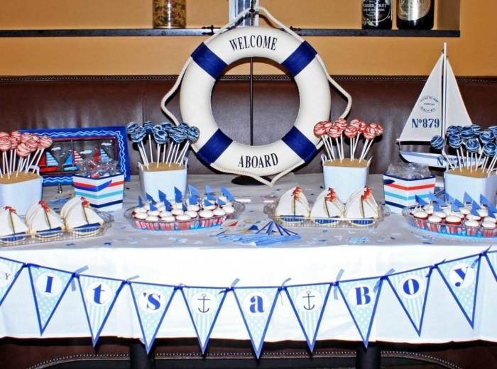 Maritime-Tischdekoration-für-Baby-Party