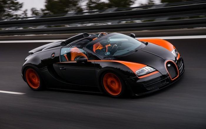 Mobile-Neuwagen-Veyron-auf-dem-Autobahn
