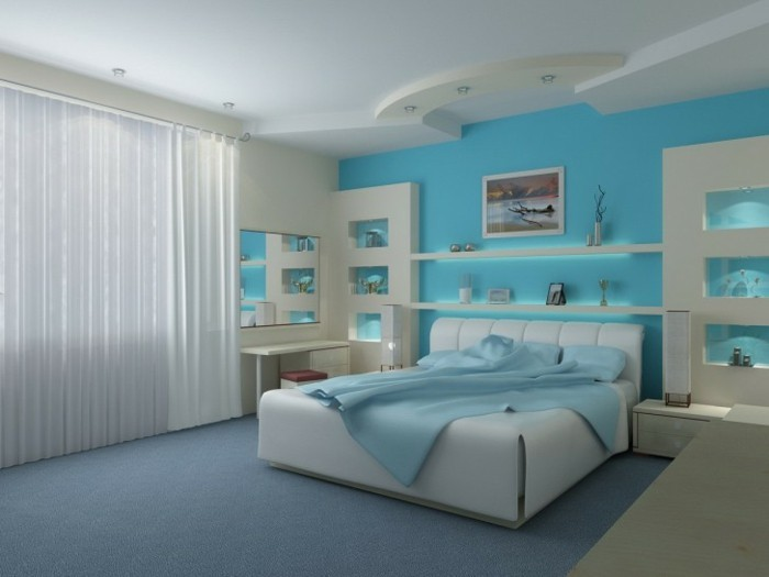 Schlafzimmer-Wandgestaltung-in-türkis-Farbe