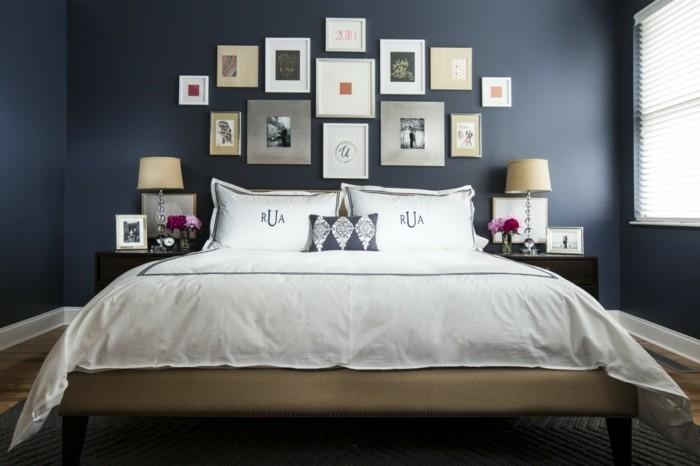 Schlafzimmer-Wandgestaltung-mit-vielen-Bildern