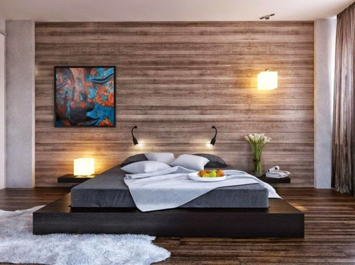 Schlafzimmer ideen wandgestaltung holz  50 beruhigende Ideen für Schlafzimmer Wandgestaltung - Archzine.net
