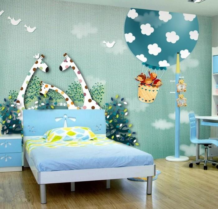 Tapete-Kinderzimmer-die-Giraffen-fressen-Bäumen