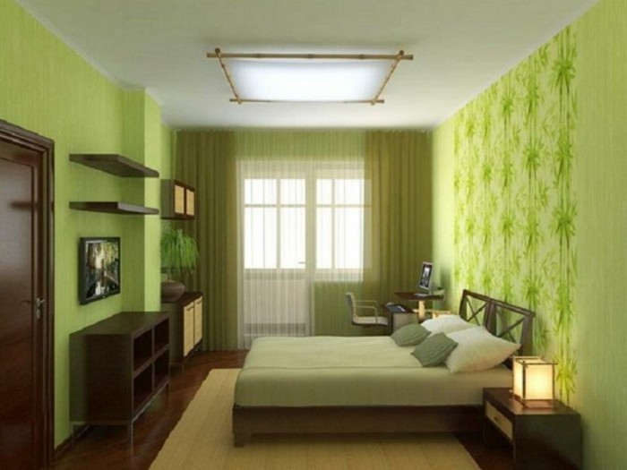Wanddeko-Schlafzimmer-mit-grünen-Pflanzen