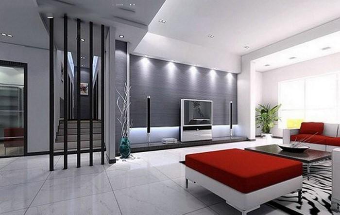 Wohnzimmer-gestalten-Ein-weisser-Akzent-und-rote-Sofas