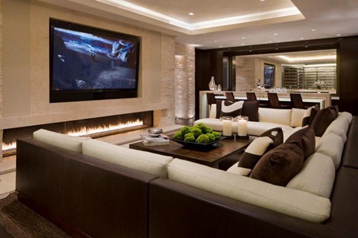 Wohnzimmer Gestalten Mit Einem Grossen Fernseher Und Eine