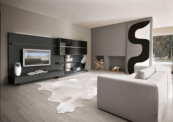 Wohnzimmer-gestalten-mit-einem-weissen-Couch-und-schwarze-Schraenke
