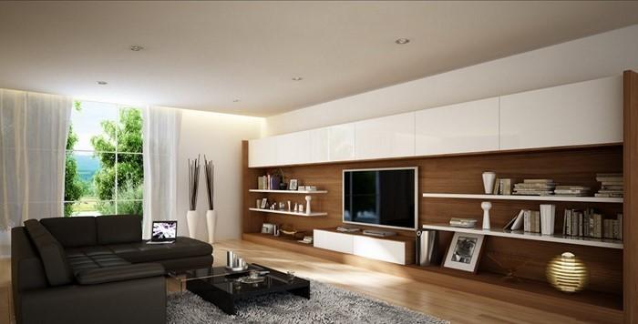 Wohnzimmer-gestalten-mit-weissen-Regalen-und-Vorhaengen