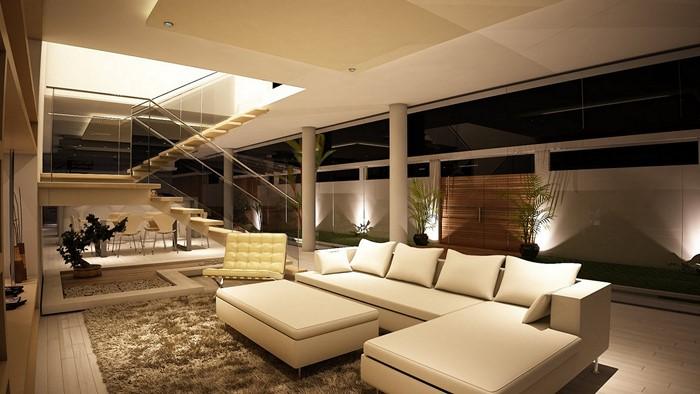 Wohnzimmer-gestalten-weisse-Couch-weisse-Waende