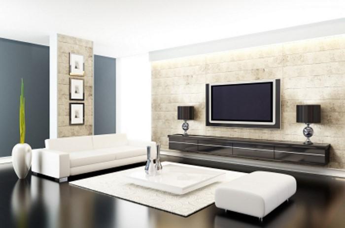 Wohnzimmer-gestalten-weisse-Sofas-schwarze-Schraenke