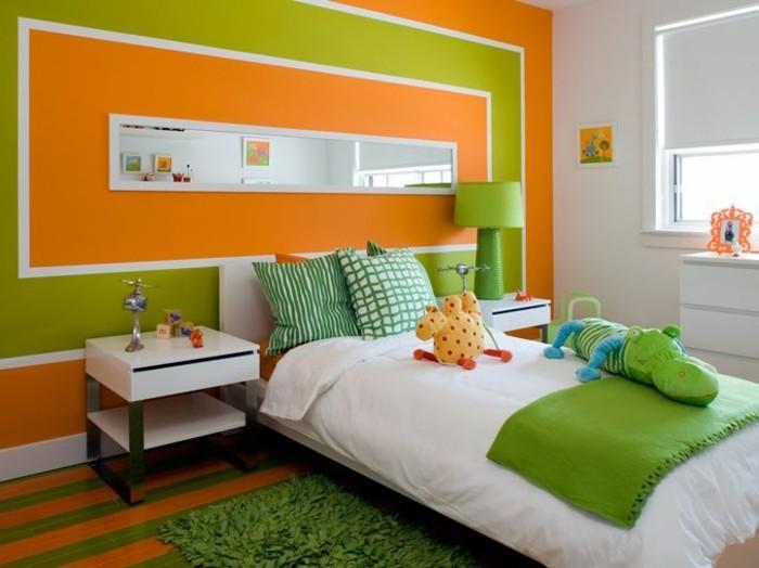 attraktive-wandfarben-ideen-schlafzimmer-in-orange-und-grün