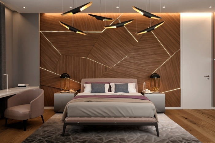 außergewöhnliche wandgestaltung schlafzimmer zimmer dekorieren zimmerdeko ideen schlafzimmerbeleuchtung hölzene wandpaneele