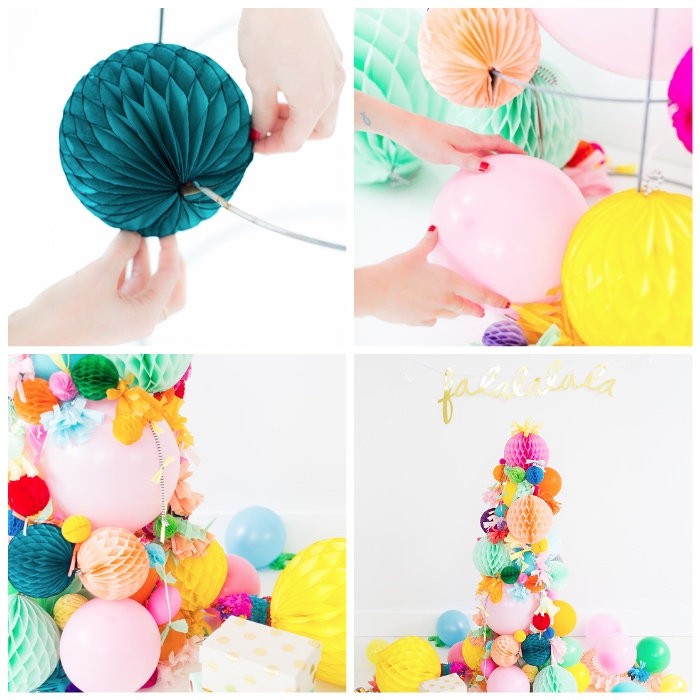 bastelideen mit anleitung, alternativer weihanchtsbaum aus ballons und wabenbällchen, diy ideen
