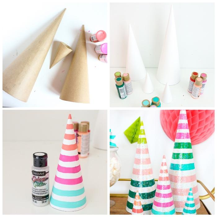 bastelideen mit anleitung, papierbäume selber machen, bunte acrylfarben, schritt für schritt