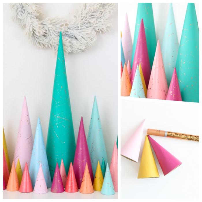 bastelideen mit anleitung, partydekoration selber machen, weihanchtsbäume aus buntem papier