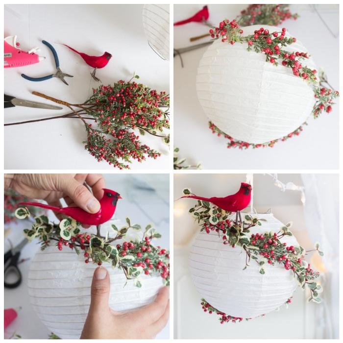 bastelideen mit anleitung, weihanchtsdeko basteln, weiße laterne mit kunstzweigen dekorieren, kleiner roter vogel