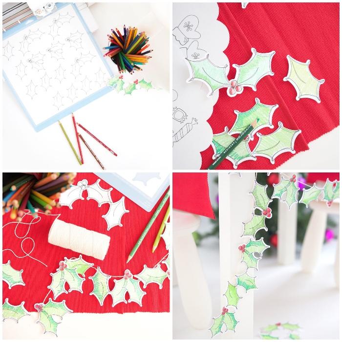 bastelideen mit papier, diy girlande aus papierblättern, freie vorlage, festliche deko selber machen