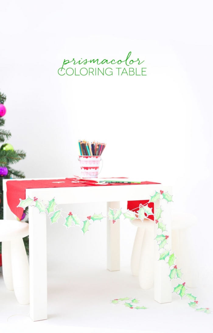 bastelideen mit papier, tisch festlich dekorieren, weihnachtliche tischdeko, diy girlande