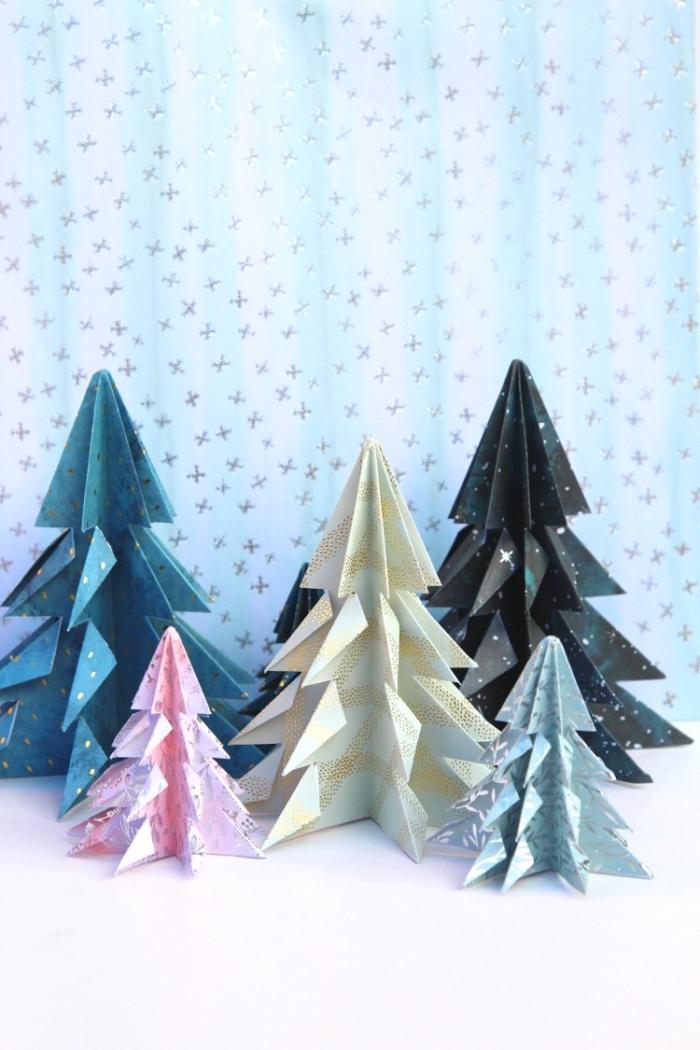 bastelideen zum weihanchten, basteln aus papier, origami weihanchtebäume, partydeko ideen