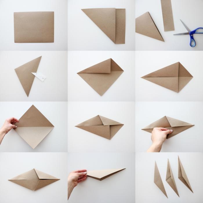 basteln aus papier, weihnachtssterne aus braunem papier, sterne falten anleitung
