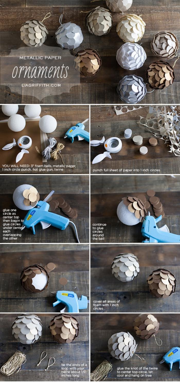 basteln aus papier, weihanchtskugeln selber machen, schritt für schritt anleitung