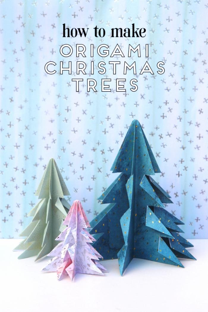 origami bäume aus buntem bastelkarton, basteln aus papier, selbstgemachte weihnachtsdeko