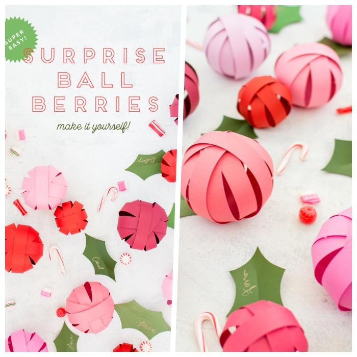 basteln mit papier, christbaumschmuck selber machen, weihanchtskugel aus rosa bastelpapier
