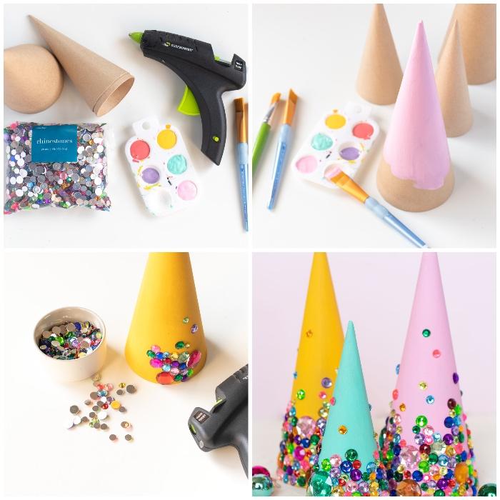 weihanchtsdeko basteln mit papier, party deko ideen zum selbermachen, kleine tannenbäume