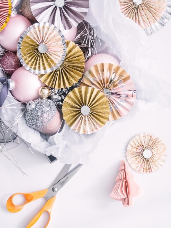 basteln mit papier, partydeko selber machen, festliche deko aus dekopapier, anleitung