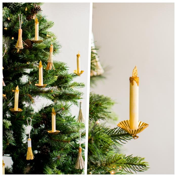 basteln mit papier zum weihnachten, chstibaum schmücken, tannenbaum dekorieren, papierkerzen