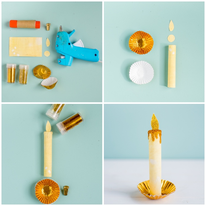 basteln mit papier, weihanchtsdeko diy, kerzen aus gelbem bastelpapier, goldener glitzer