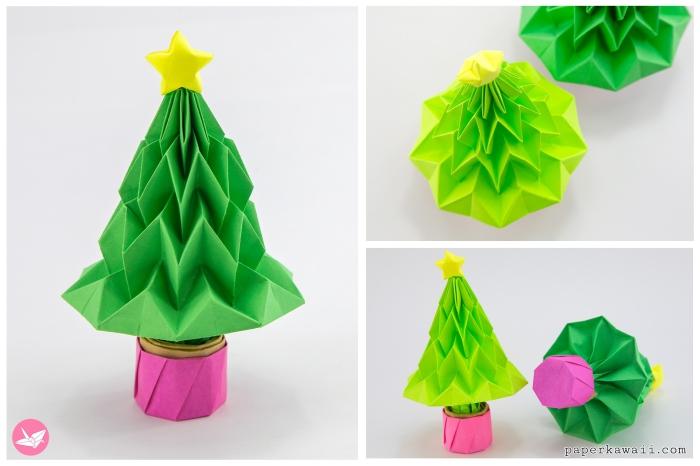 basteln weihnachten papier, selbstgemachtes weihanchtsbaum aus papier, origami papierbaum falten