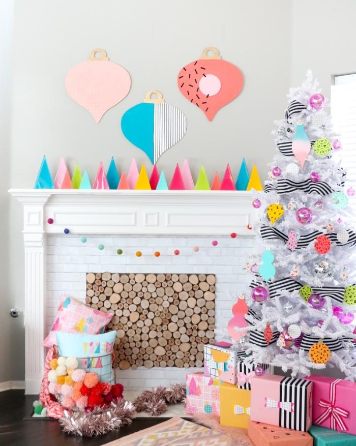 basteln weihnachten papier, weihanchtsbaum dekorieren, weihanchtsparty deko, kamin deko