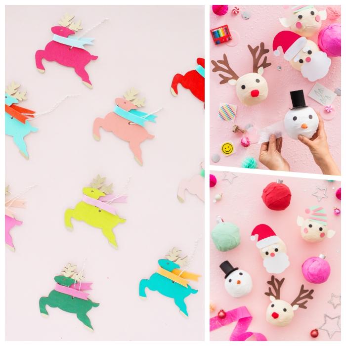 bastelvorlagen zum ausdrucken, dyi ideen zum weihanchten, weihanchtspaty deko, weihnachtskugel hirschen