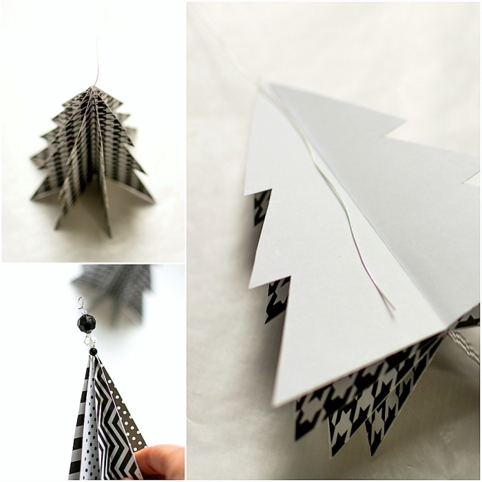 bastelvorlagen zum ausdrucken, weihnachtsbaum aus papier selber machen, christbaumschmuck
