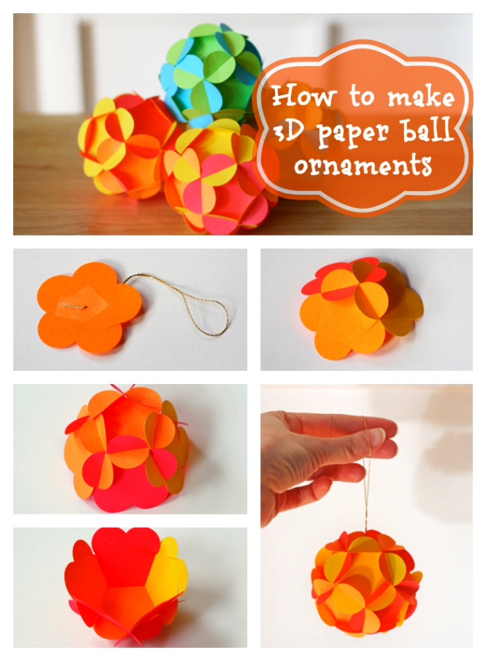 bastelvorlagen zum ausdrucken, weihnachtkugel selber machen, orangenfarbenes papier