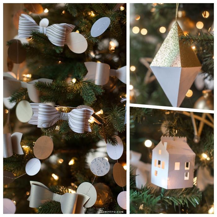 bastelvorlagen zum ausdrucken, weihnachtsschmuck aus papier basteln, weihanchtskugel schleifen