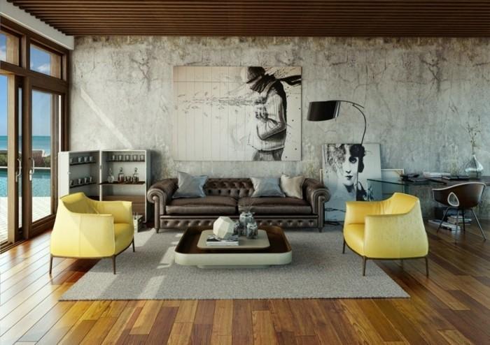 Wohnzimmer gelb braun