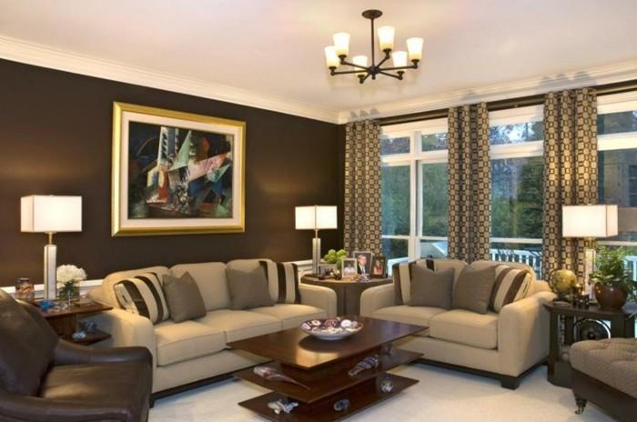 schöne wohnzimmer farbe:braune-wandgestaltung-schöne-brauntöne-in-dem-wohnzimmer