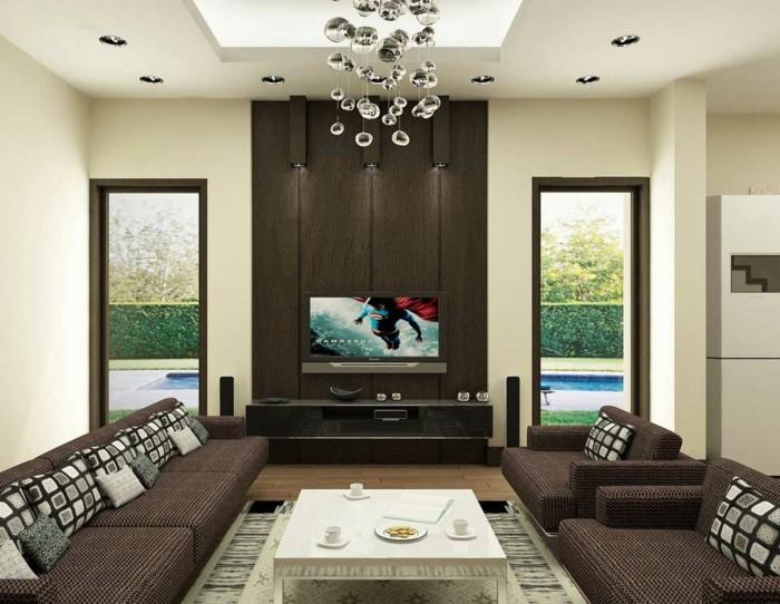 Moderne wohnzimmer wandgestaltung  43 super Ideen für braune Wandgestaltung - Archzine.net