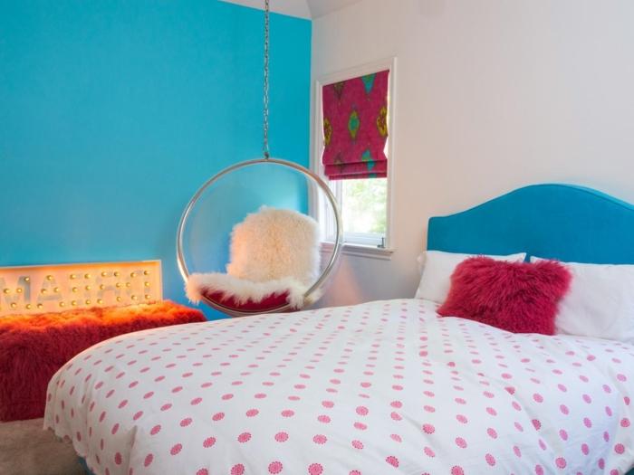 einmalige-wandfarben-ideen-kleines-schlafzimmer-blaue-wand