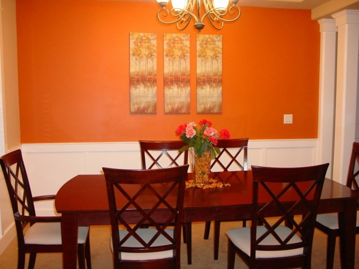 esszimmer-mit-orange-wand-kreative-wandfarben-vorschläge