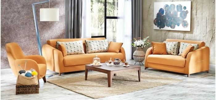 Gemtliches Wohnzimmer Gestalten Sofa Sessel Orange Stehlampe Wnde